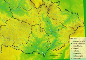 Mapa pylových lokalit na Moravě / Map of pollen sites in Morava