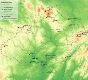 Mapa palynologických lokalit z 23. 6. 2016  / Map of palynological sites as of 23.6. 2016 (progress2016b)