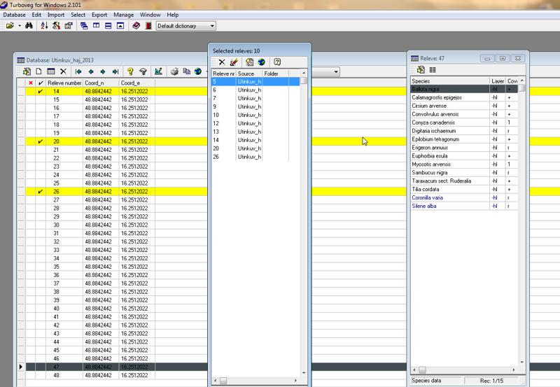 Snímek databáze vegetačních ploch / Screenshot of the vegetation plot database